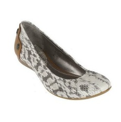 B. Makowsky Snake Skin Leather Flats with Contrast Back