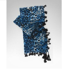Bebe Blue Cheetah Animal Print Tassel Scarf