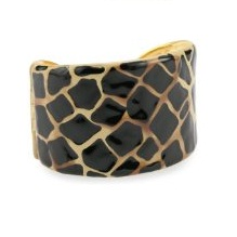 Kenneth Jay Lane Beige And Black Animal Print Cuff Bracelet