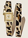 Guess Leopard Animal Print Double Wrap Watch