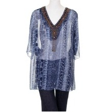 Shoreline Snake Skin Print Sequins and Coins Detailed Neckline Tunic Blouse Blue