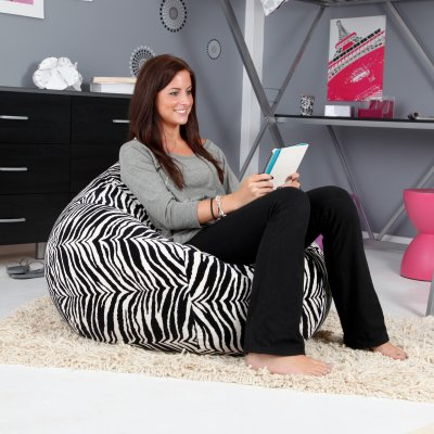 Zebra XL Faux Suede Animal Print Teardrop Bean Bag Chair
