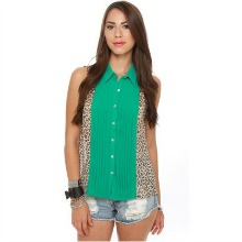 Leopard Print Button Up Sleeveless Top