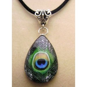 Teardrop Peacock Glass Tile Pendant Necklace