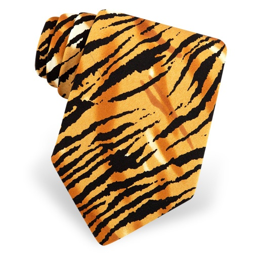 Tiger Animal Print Tie by The American Necktie Co – Orange Microfiber