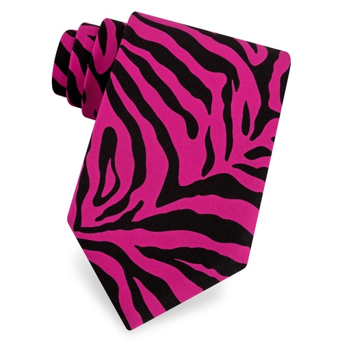 Zebra Animal Print Tie by The American Necktie Co – Hot pink Microfiber