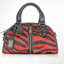 Badgley Mischka Red Calfskin Zebra Handbag