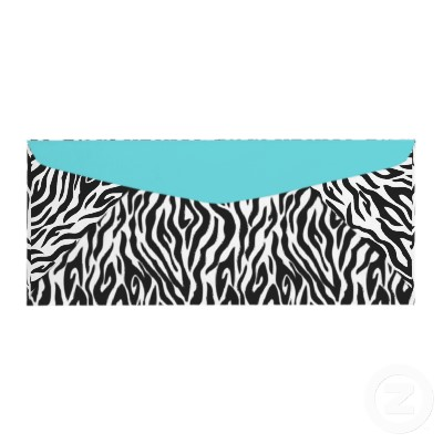 Boutique Chic Zebra Blue Envelope 2