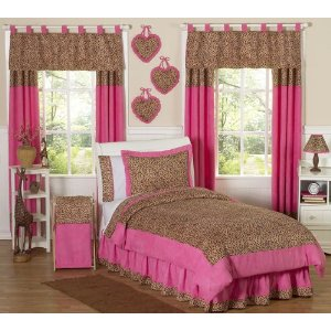 Cheetah Girl Pink and Brown Teen Bedding 3pc Full / Queen Set