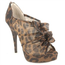 Cheetah Print Gathered Fabric Peep Toe Heels