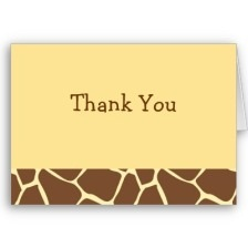 Giraffe Animal Print Thank You Note Cards