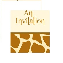 Animal Print Giraffe Invitations