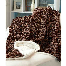 Plush Giraffe Animal Print Sherpa Throw