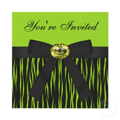 Green Tiger Animal Print, Bow & Bling Jewel Invites (10-pack)