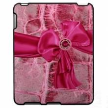 Pink Animal Skin Croco Print & Bow iPad Case