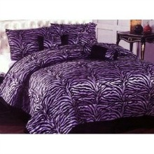 Imperial 7pcs Micro Fur Black/Purple Zebra Design Comforter Bed-in-a-bag Set Queen Size Bedding