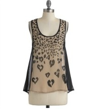 Cheetah Animal Print Heart Blouse