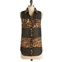 Leopard Animal Print Sleeveless Collared Shirt