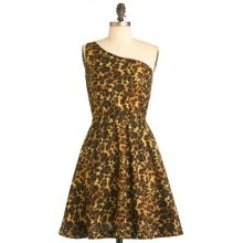 One Shoulder Leopard Print Dress