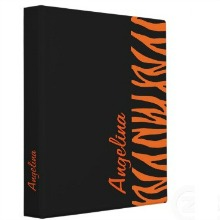 Personalized Orange Tiger / Zebra Stripes Binder