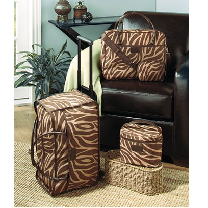 Zebra Print 4 Pc Luggage Set