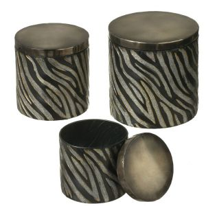Set of 3 Chic Silver and Black Glitter Zebra Print Round Storage Boxes