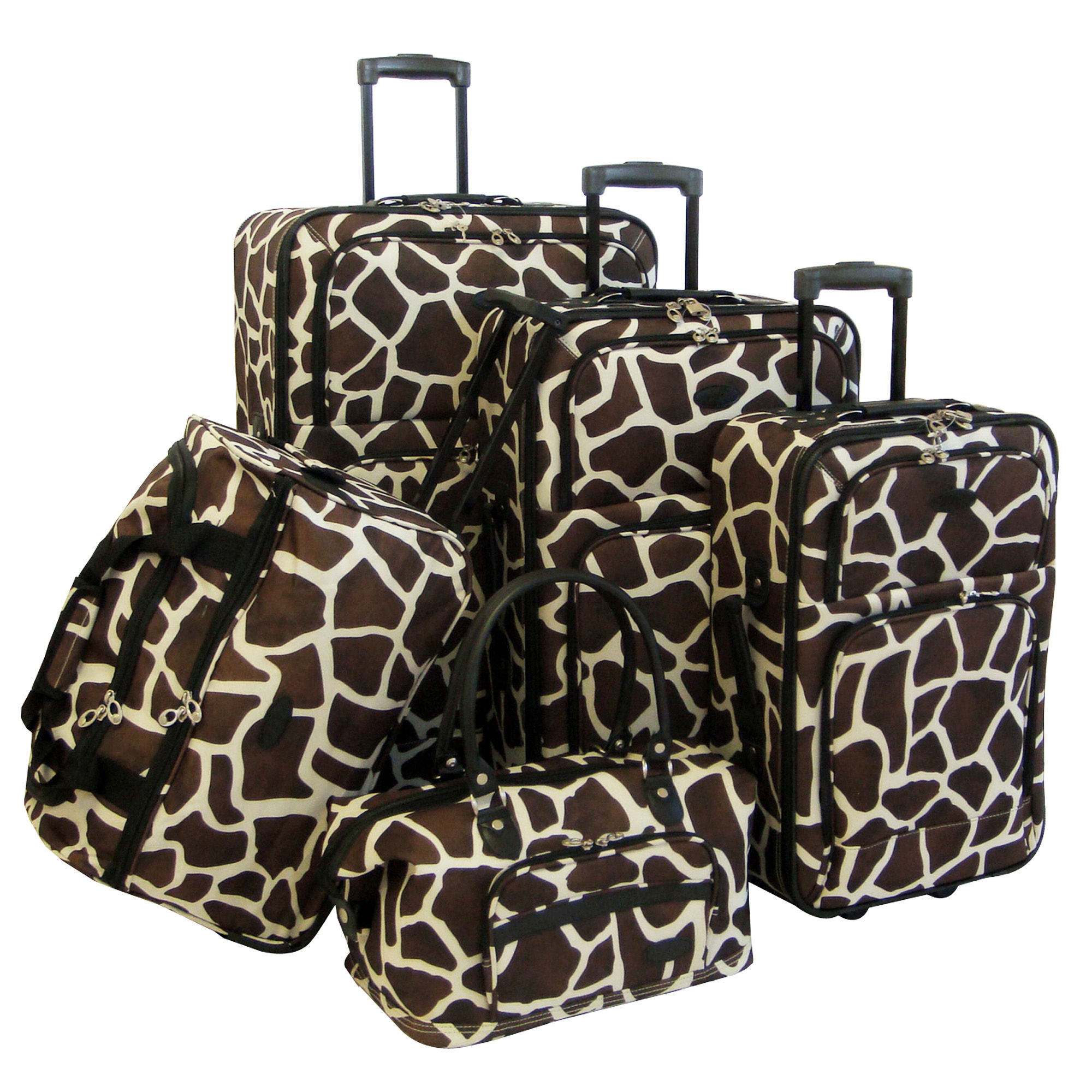 American Flyer Brown Giraffe Animal Print 5 Piece Luggage Set