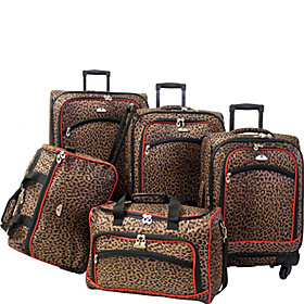 American Flyer Leopard Animal Print 5 Pc Spinner Luggage Set