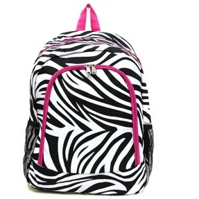 Zebra Hot Pink Trim Backpack 16.5