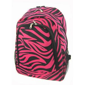 Zebra Hot Pink Black Trim Backpack 16.5
