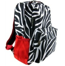 Zebra Stripe Print Backpack Book Bag Red Trim