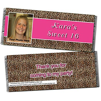 Giraffe Animal Print Photo Personalized Candy Bar