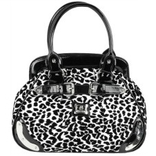 Black and White Cheetah Print Velvet Satchel Hobo Handbag