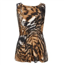 Brown Tiger Animal Print Peplum Top
