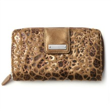 Copper Leopard Print Faux Fur Wallet