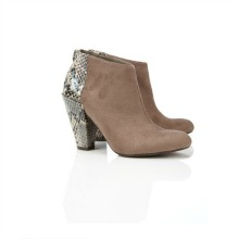 Cream Snake Skin Animal Print Ankle Boot