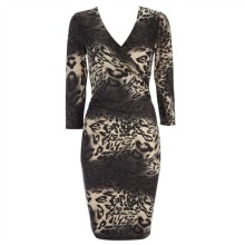 Grey Ombre Animal Print Wrap Dress