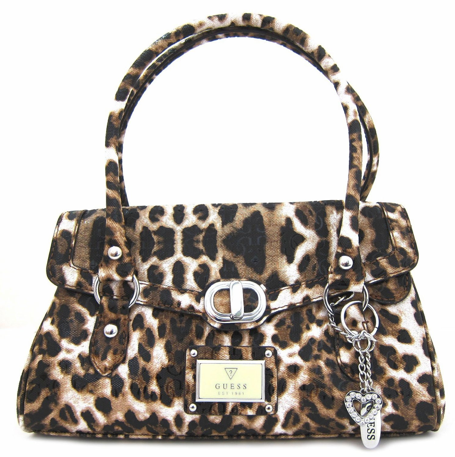 Guess Women's Veracruz Satchel Cheetah Handbag
