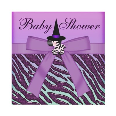Halloween Zebra Purple Animal Print Baby Shower Custom Invitations