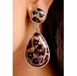 Wild Side Leopard Teardrop Earrings