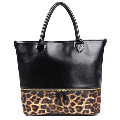 Black Leopard Zip Shopper Bag