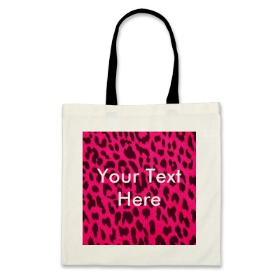Pink Leopard Print Cotton Tote Bag