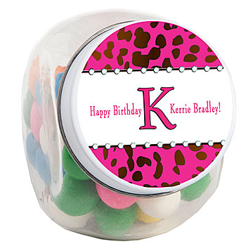 Ribboned Cheetah Personalized Candy Jar