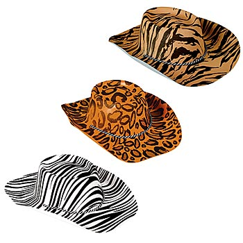 Safari Animal Print Cowboy Hats Pkg/12