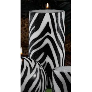 Pack of 4 Gardenia Scented Zebra Print Pillar Candles