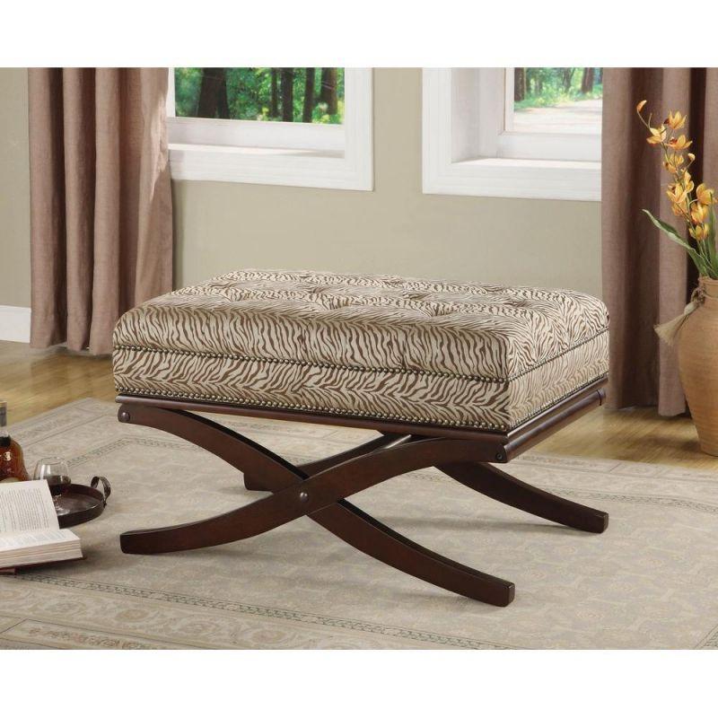 Wondrous Zebra Print Exposed Wood Bench Ottoman Machost Co Dining Chair Design Ideas Machostcouk