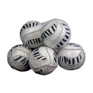 December Diamonds 6 Zebra Print Shatterproof Christmas Ball Ornaments