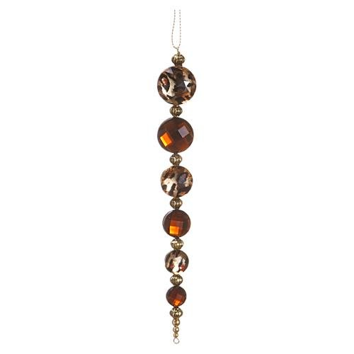 Animal Print Rhinestone Drop Ornament Gold Black (Pack of 24)