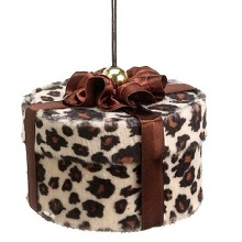 Diva Safari Fancy Cheetah Animal Print Gift Box Christmas Ornament