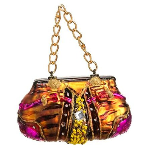 Glass Animal Print Purse Ornament Gold Fuchsia (Pack of 12)